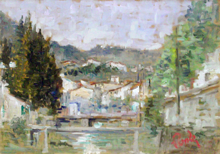 Art work by Giorgio Prenleloup Il Mugnone dal Ponte Rosso - oil table
